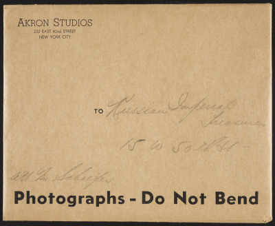 Envelope from Akron Studios to Russian Imperial Treasures, 15 W. 50th Street, Attn. Mr. Schaffer