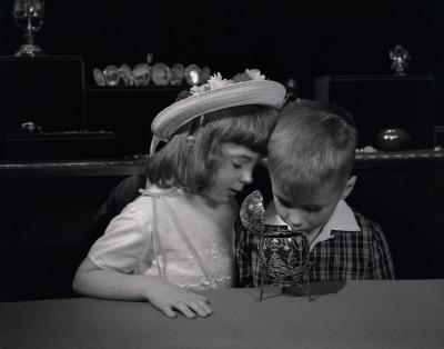 Children looking inside Fabergé imperial egg