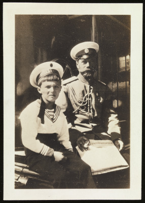 """The Emperor and Alexei N. on the """"Standart,"""" Photo by the Empress"""