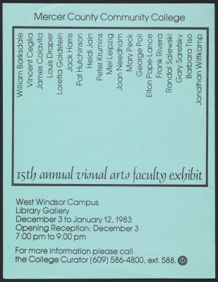 15th Annual Visual Arts Faculty Exhibit