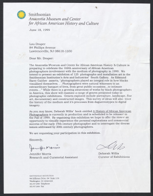 Letter from Jennifer Morris, Research and Curatorial Assistant, and Deborah Willis, Curator of Exhibitions